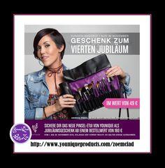 KUNDEN-INCENTIVE1. November bis 30. November 2016 Geschenk zum vierten Jubiläum  wert 49€ Sichern Sie sich die neue Pinseltasche von Younique als Geschenk zu unserem vierten Jubiläum ab einem Bestellwert von 160 €   #younique #germany #german #berlin #bilden #makeup #beauty