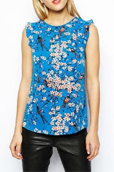 Floral Printing Falbala Cuff Sleeveless T-shirt