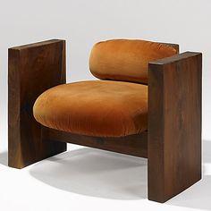 Jeffrey Greene; Walnut Lounge Chair, 1970s.
