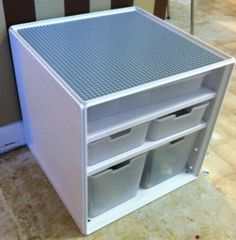 DIY Lego storage table using Target storage bins and ordered grey lego sheet from amazon