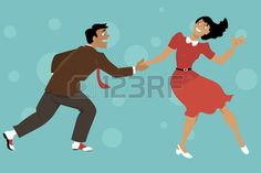 Couple dressed in 1940s fashion dancing lindy hop or swing EPS 8 vector illustration no transparenci Stock Vector