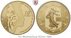 RITTER Frankreich, 10 Euro 2008, 50 Jahre V. Republik, Gold, PP #coins #numismatics