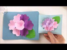 【折り紙】アジサイのポップアップカード Hydrangea Pop-up Card - YouTube