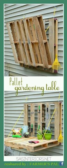 Pallet table - may be perfect for my potting table next to shed!