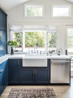 Home Decor For Small Spaces navy blue kitchen cabinets ideas.Home Decor For Small Spaces navy blue kitchen cabinets ideas Blue Kitchen Furniture, Navy Blue Kitchen Cabinets, Brown Cabinets, Diy Kitchen, Kitchen Decor, Blue Kitchen Ideas, Kitchen Cupboard, Kitchen Sink, White Counters