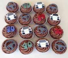 12 x edible icing car steering wheel age cupcake toppers by ACupfulofCake on Etsy £18.95