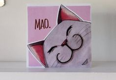 PaperBinks - Blank Card - Grey Mao Cat - Pink Blank Card