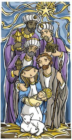 Epiphany Prayer Card  Three Kings by ModHMary on Etsy, $1.75