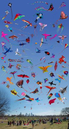 "We enjoy watching people fly kites downtown at ""The Open Space,"" park.  There are not this many, but the 4 or 5 are beautiful against the sky.    Typical March/April activity...sigh!  njoy"