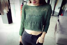 Women Crochet Knit Crop Top Sweater  -Boatneck  -3/4 Sleeves  -See Through