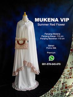 Mukena Vip Summer Red Flower - Grosir Pesan Mukena katun jepang santung bordir batik bali murah anak