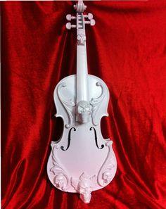 Gloss white Ornate skull violin sculpture Shabby Chic by kyoob