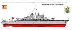 Perfiles navales Fragata PIZARRO F31 fue una fragata (originalmente construida y catalogada como Cañonero) de la Armada Española.Permaneció destinada en Porto Pí (Mallorca) desde 1946 hasta 1962, y desde ese momento hasta 1969 en Fernando Poo (Antigua colonia española de Guinea Ecuatorial).