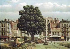 Arnau Alemany, Último tren a Cincinnati, 2000. Litografía en 11 colores Formato: 57,5 x 81,5 cm Papel: Arches Edición de 275 ejemplares numerados y firmados
