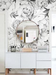 "Peony Flower 108' x 24"" 5 Piece Wallpaper Panel"