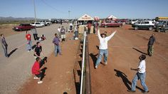 Americans and Mexicans playing volleyball over the border in Arizona