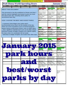January 2015 park hours and best/worst parks by day