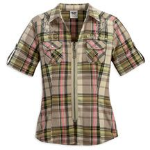 Women's Short Sleeve Woven Plaid Shirt with Back Graphic | MotorClothes® Merchandise | Harley-Davidson USA