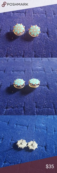 """Sleeping Beauty Turquoise Sterling Earrings Old Pawn Sterling Silver Sleeping Beauty Turquoise Earrings  Signed: n/a ( they have been tested to confirm it is sterling) Size: approximately. 5""""  If you don't like my price make me a offer! Jewelry Earrings"""