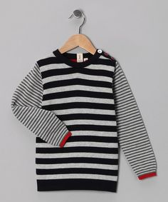 Take a look at this Petit De Nimes Navy Stripe Tom Striker Sweater - Toddler & Boys by Petit De Nimes on #zulily today!
