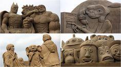 Todo ano acontece na cidade costeira de Weston-super-Mare, Inglaterra, um Festival que reúne os melhores escultores de areia do mundo! Esse ano o evento teve como tema a indústria cinematográfica de Hollywood e o resultado ficou simplesmente incrível. Mais em: http://www.westonsandsculpture.co.uk/