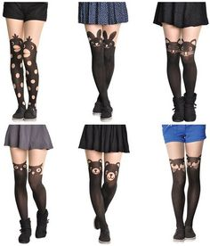 These are so cute! Animal pattern tights leggings panty hose