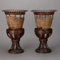 Pair Tall French Iron and Jute Jardinieres  --  Circa 1930s tall iron jardinieres with open work pedestal and urn form body accented with woven jute. Sold and priced as a pair.  --   Item:  6103  --  Retail Price:   $2195