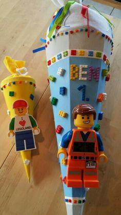 Schultüte Lego mit Wecker und kleine Geschwistertüte