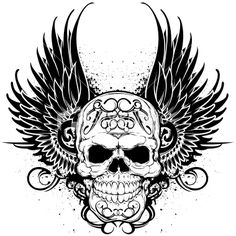 36 best skull with wings tattoo designs images wing tattoo designs Wings Drawing crown and skull wings tattoo stencil