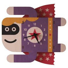 Kids Clock - Supergirl. Fun natural birch wood clock with a cool 3D pop out effect - hangs on wall.