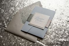 Sparkly Snowflake Wedding Invitation, winter wedding invitations, letterpress in pocketfold, http://justinviteme.com/collections/samples-1/products/lauren-suite-sample