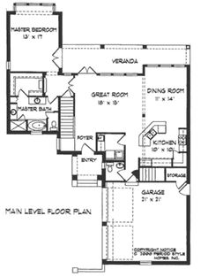 Mediterranean Style House Plan - 3 Beds 2.5 Baths 1826 Sq/Ft Plan #76-107 Floor Plan - Main Floor Plan - Houseplans.com