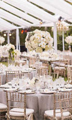 Wedding ● Tablescape & Reception Décor ● Soft Gray, Grey wedding decor, white and cream flower centrepieces, Grey table linen