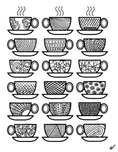 Coffee Coloring Pages Don't you just love complex coloring pages? These free printable coloring pages for adults come in a coffee theme, because, I'm obsessed! Printable Adult Coloring Pages, Coloring Book Pages, Coloring Sheets, Coloring Pages For Adults, Cuisines Diy, Coffee Theme, Coffee Colour, Thinking Day, Copics
