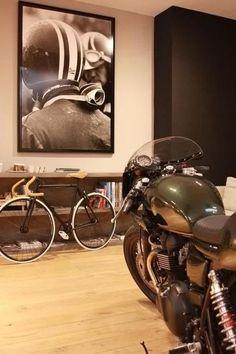 moto, chambre, bureau, homme, casque, cadre, déco