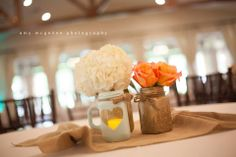 DIY Centerpieces   Painted Mason Jars   Burlap Venue: The Orchard Event Venue http://www.theorchardtx.com. Hidden in a quiet corner of the Fort Worth  metroplex is The Orchard, a new, state of the art venue that will serve as the perfect backdrop for all of life's special occasions. Outdoor Wedding Venue   Fort Worth Wedding Venue   Rustic Wedding Venue   Country Wedding Venue   Elegant Wedding Venue   Reception Hall Photographer: Amy McGehee Photography