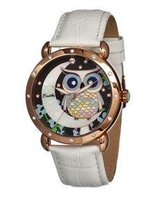 White & Gold Mother-of-Pearl Owl Ashley Leather-Strap Watch