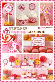 Vintage Pink Carnival Circus Baby Shower Package by venspaperie, $35.00
