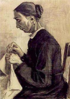 Vincent van Gogh (Dutch: 1853 – 1890) | Sien, Sewing, Half-Figure (1883)