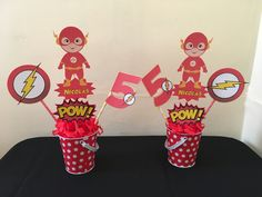 If you are looking for the best ideas for Flash Theme Party, read on to show you here the flash decoration for children's party, such as decorating a main Superhero Centerpiece, Birthday Party Centerpieces, Flash Superhero, Superhero Party, First Birthday Parties, 5th Birthday, Flash Characters, The Flash, Party Themes
