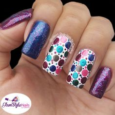 METALLIC POLKA DOTS MIX Good morning!. My design for today is a simple polka dots in metallic colors with a touch of glitter!. For some reason, I just bought recently some metallic polishes and I really like how it looks specially when is cloud and rainy here in Mexico!. I need something that shine in my nails!. Do you like this design?. Don't forget to smile!. =)