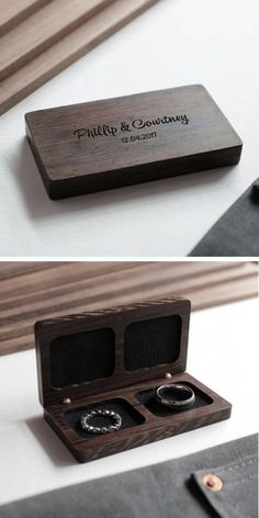 17 Trendy Ideas For Wedding Rings Box Wooden Wedding Ring Box, Wedding Boxes, Handmade Wedding Gifts, Wooden Ring Box, Wood Rings, Ring Verlobung, Wooden Jewelry, Wedding Anniversary Gifts, Wood Boxes