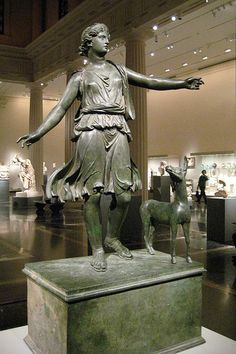 Roman statue of Diana and a deer Greek or Roman, Late Hellenistic or Early Imperial, ca. 1st century B.c. - 1st century A.D. Found at the Met!