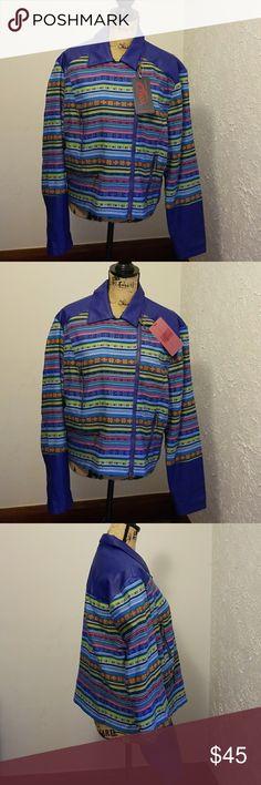 🎉💕HoST PiCk💕🎉Unique Yoki sport royal blue coat Sporty faux leather trim n colorful patterned short coat, Versatile can be worn open or zipped B2GO FREE Yoki Jackets & Coats