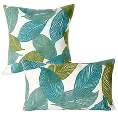image of Liora Manne Mystic Leaf Outdoor Throw Pillow in Aqua Toss Pillows, Outdoor Throw Pillows, Turquoise Cushions, Patio Swing, Patio Cushions, Patio Accessories, Wedding Gift Registry, Fine China, Bedding Shop
