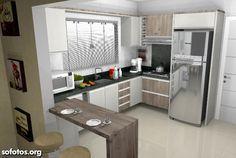Bilderesultat for cozinha em u Kitchen Room Design, Home Decor Kitchen, Kitchen Interior, Home Kitchens, Modern Kitchen Cabinets, Cuisines Design, Kitchen Remodel, Sweet Home, Home Appliances