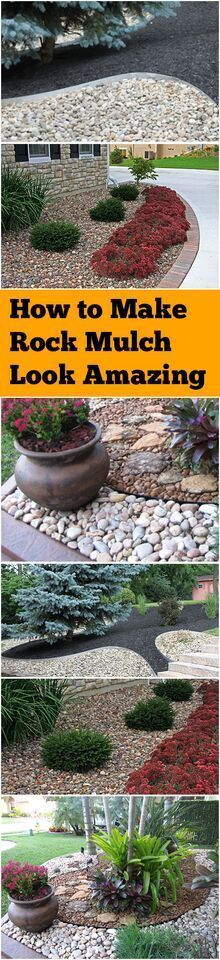to Make Rock Mulch Look Amazing Rock mulch landscaping with rock mulch landscaping hacks tips and tricks gardening gardening hacks landscape and yard outdoor livingRock m. Mulch Landscaping, Landscaping With Rocks, Front Yard Landscaping, Mulch Yard, Hydrangea Landscaping, Cheap Landscaping Ideas, Landscaping Software, Rock Mulch, Garden Projects