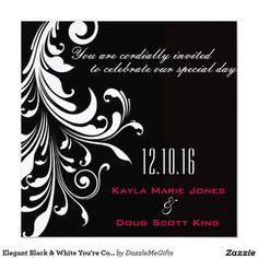 Elegant Black & White You're Cordially Invited Card
