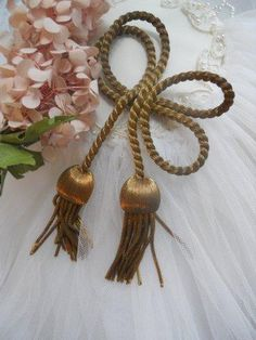Have one to sell? Sell it yourself PAIR ANTIQUE FRENCH METALLIC WIRE TASSELS ART DECO