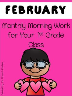 Morning work for 1st grade for the month of February! This pack includes 22 pages of morning work aligned to the Common Core! The pages are split into weeks and each day builds upon each other. Topics include:- Sight Words- Adding with 3 addends- R-controlled vowels- Telling time to the hour and half hourMake to sure to grab my other morning work packs!